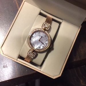 Ellen Tracy rhinestone & gold ladies watch